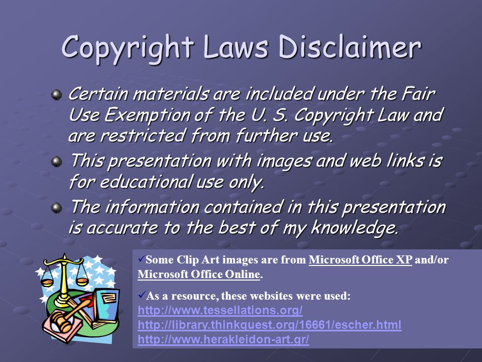 Copyright Laws Disclaimer