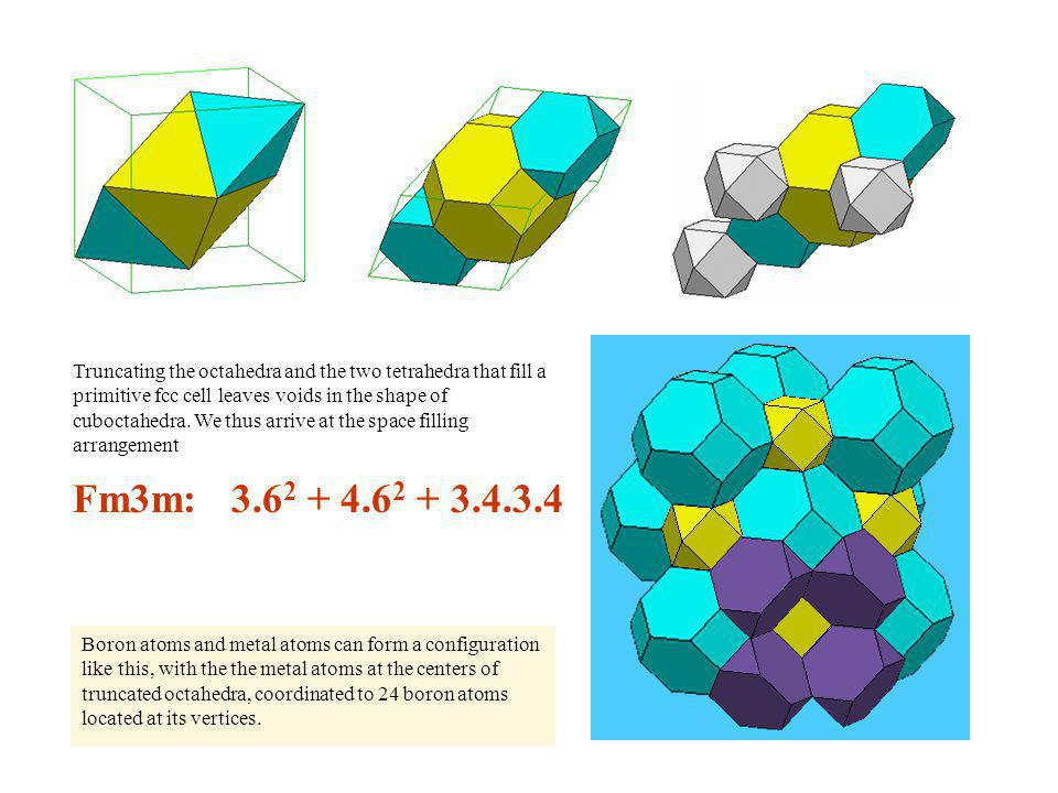 Truncating the octahedra and the two tetrahedra that fill a primitive fcc cell leaves voids in the shape of cuboctahedra. We thus arrive at the space filling arrangement