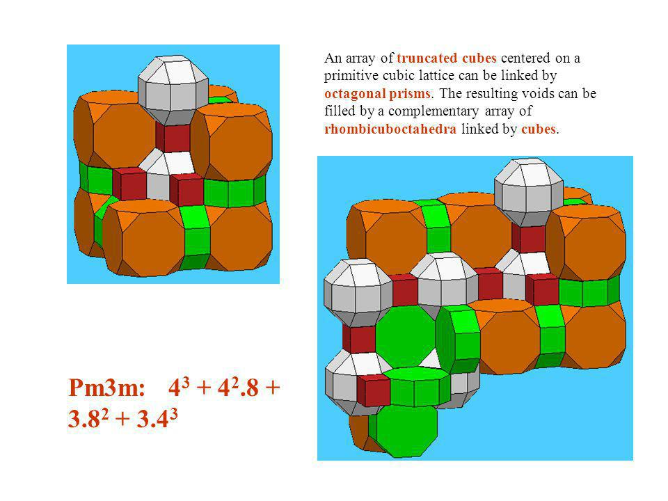 An array of truncated cubes centered on a primitive cubic lattice can be linked by octagonal prisms. The resulting voids can be filled by a complementary array of rhombicuboctahedra linked by cubes.