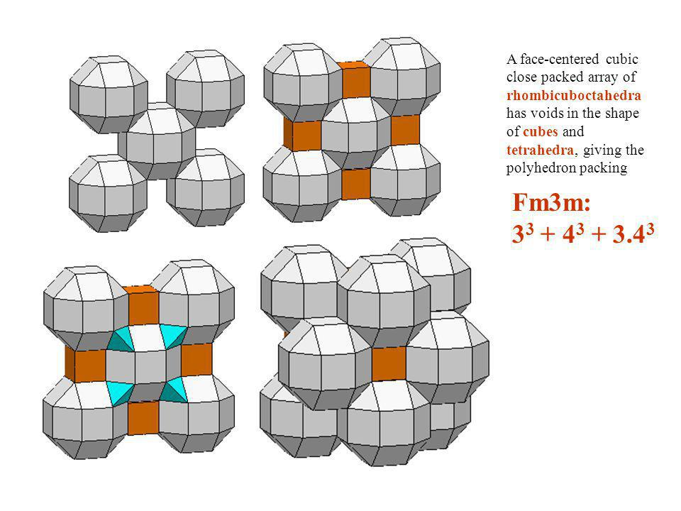 A face-centered cubic close packed array of rhombicuboctahedra has voids in the shape of cubes and tetrahedra, giving the polyhedron packing