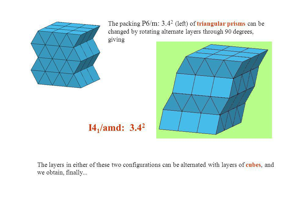 The packing P6/m: 3.42 (left) of triangular prisms can be changed by rotating alternate layers through 90 degrees, giving