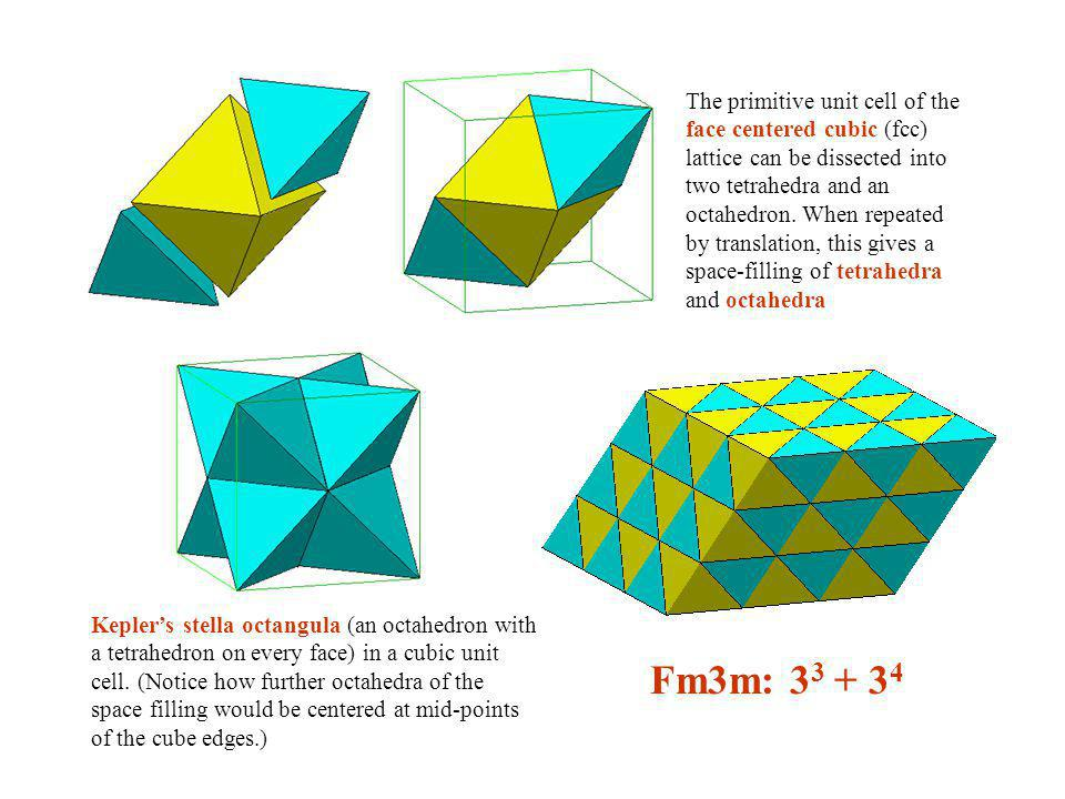 The primitive unit cell of the face centered cubic (fcc) lattice can be dissected into two tetrahedra and an octahedron. When repeated by translation, this gives a space-filling of tetrahedra and octahedra
