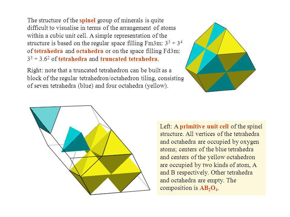 The structure of the spinel group of minerals is quite difficult to visualise in terms of the arrangement of atoms within a cubic unit cell. A simple representation of the structure is based on the regular space filling Fm3m: 33 + 34 of tetrahedra and octahedra or on the space filling Fd3m: 33 + 3.62 of tetrahedra and truncated tetrahedra.