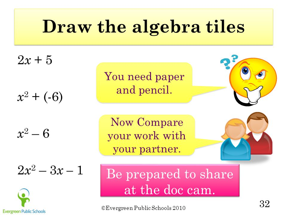 Draw the algebra tiles Be prepared to share at the doc cam. 2x + 5
