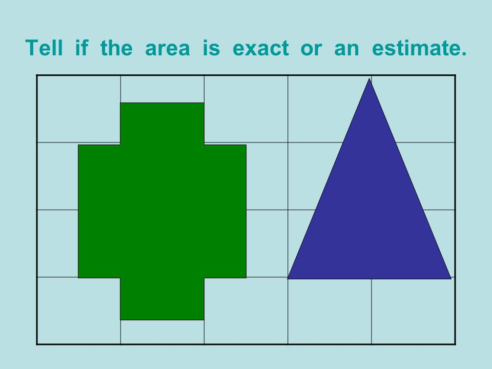 Tell if the area is exact or an estimate.