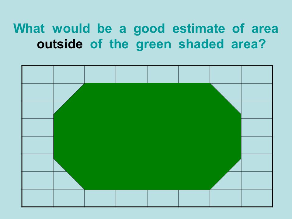 What would be a good estimate of area outside of the green shaded area