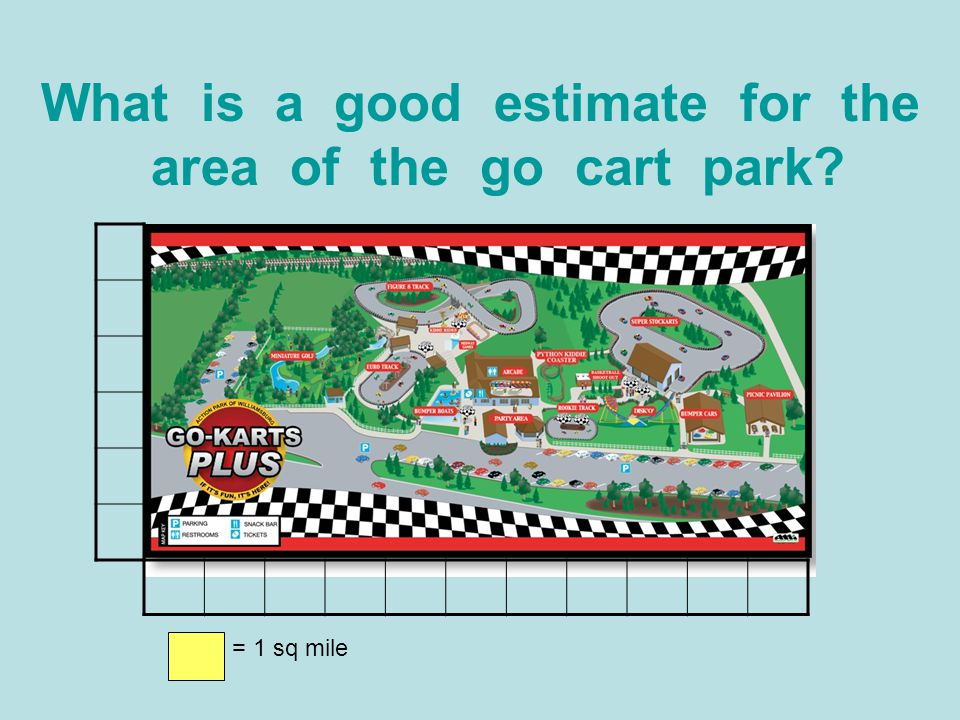 What is a good estimate for the area of the go cart park