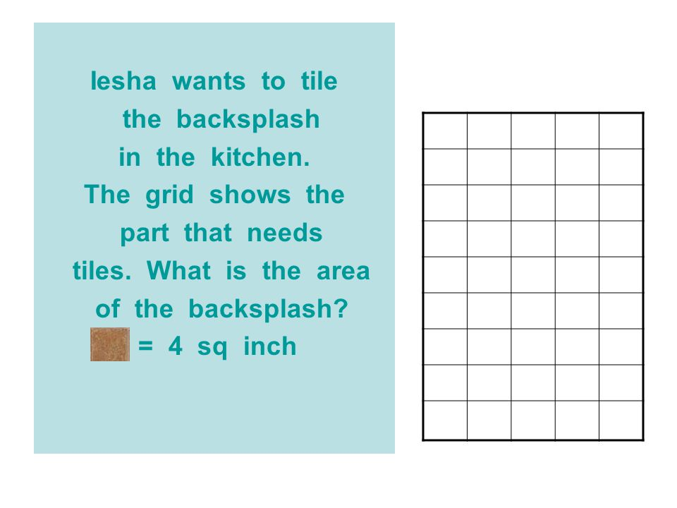 Iesha wants to tile the backsplash. in the kitchen. The grid shows the. part that needs.