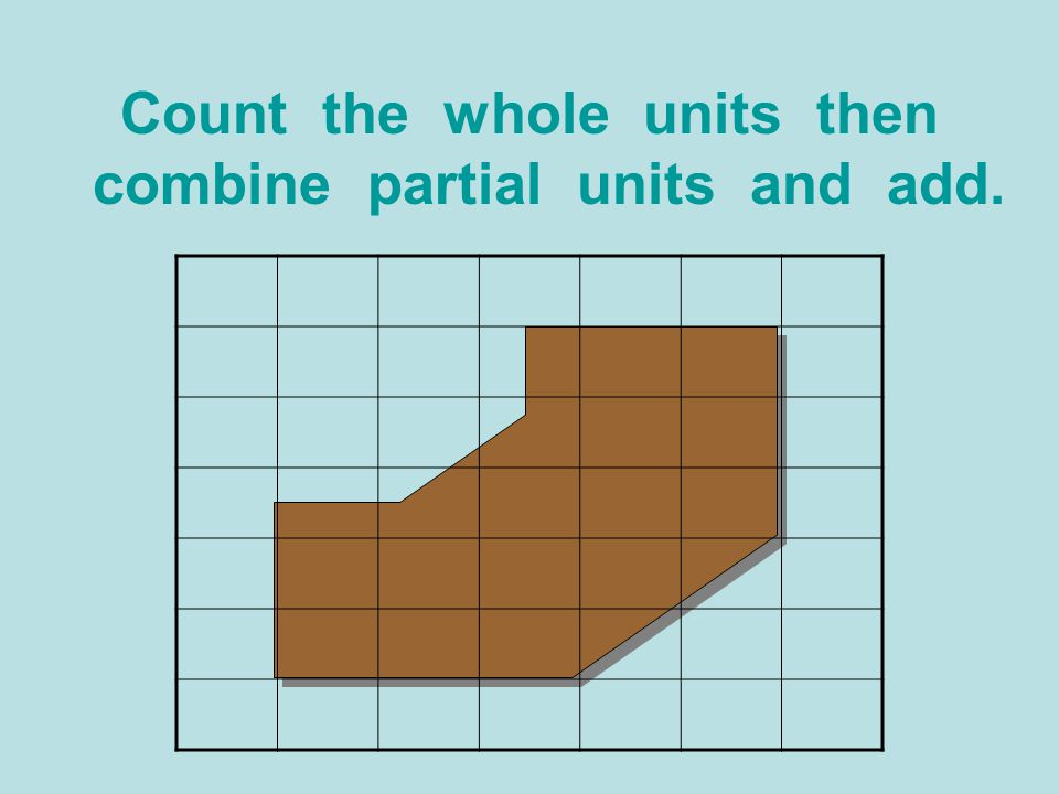 Count the whole units then combine partial units and add.