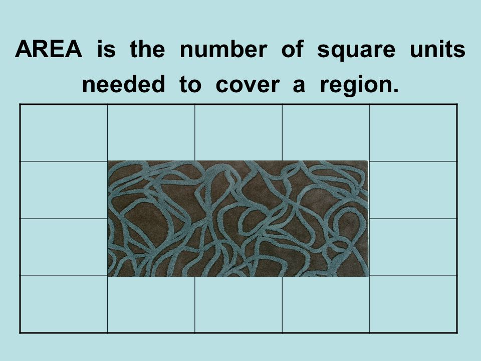 AREA is the number of square units needed to cover a region.