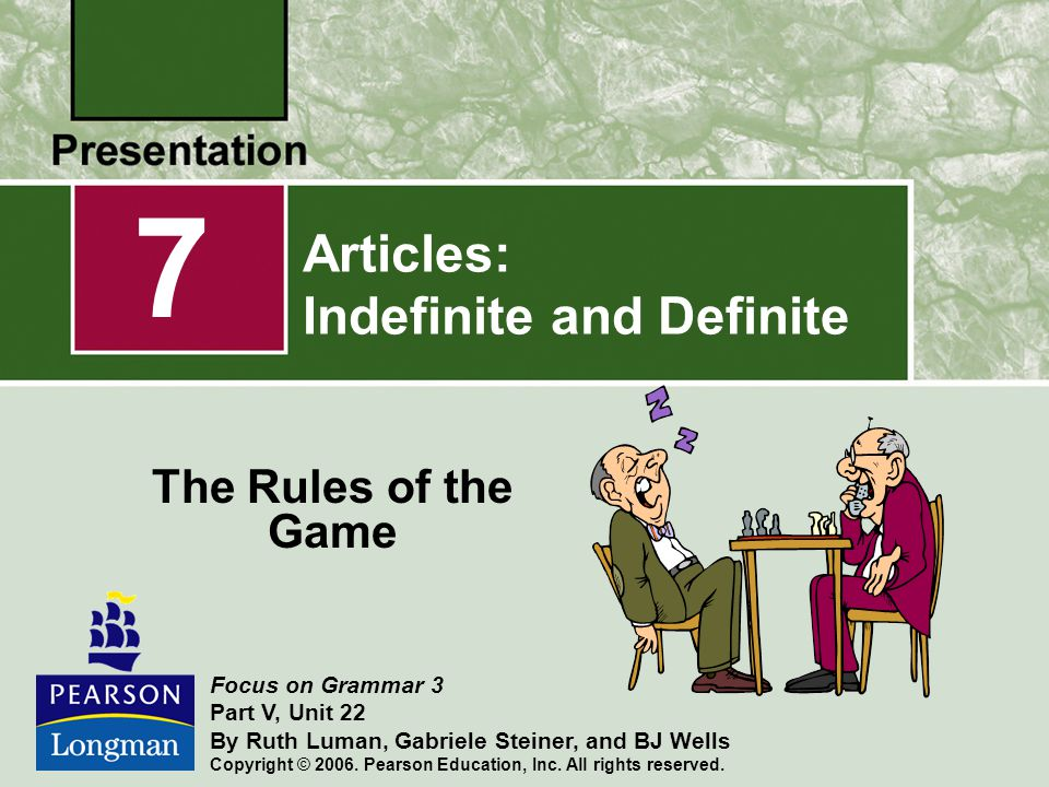 Articles: Indefinite and Definite