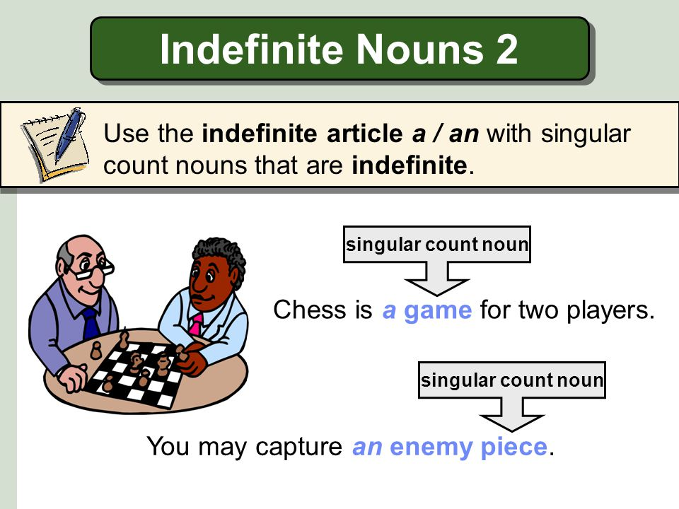 Indefinite Nouns 2 Use the indefinite article a / an with singular count nouns that are indefinite.