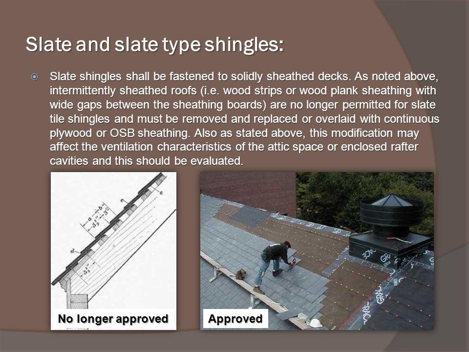 Slate and slate type shingles: