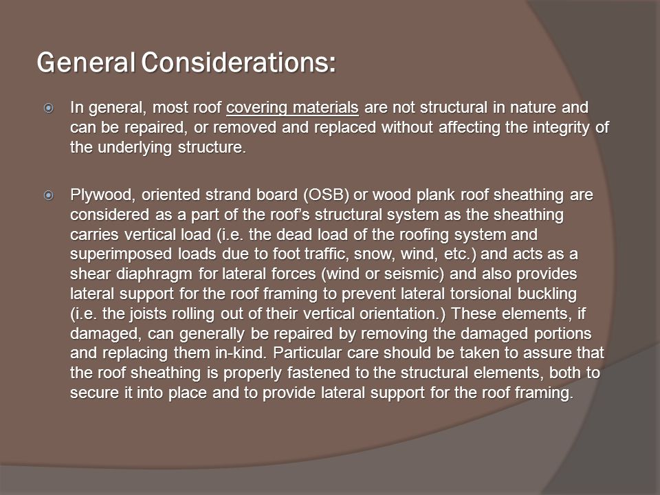 General Considerations: