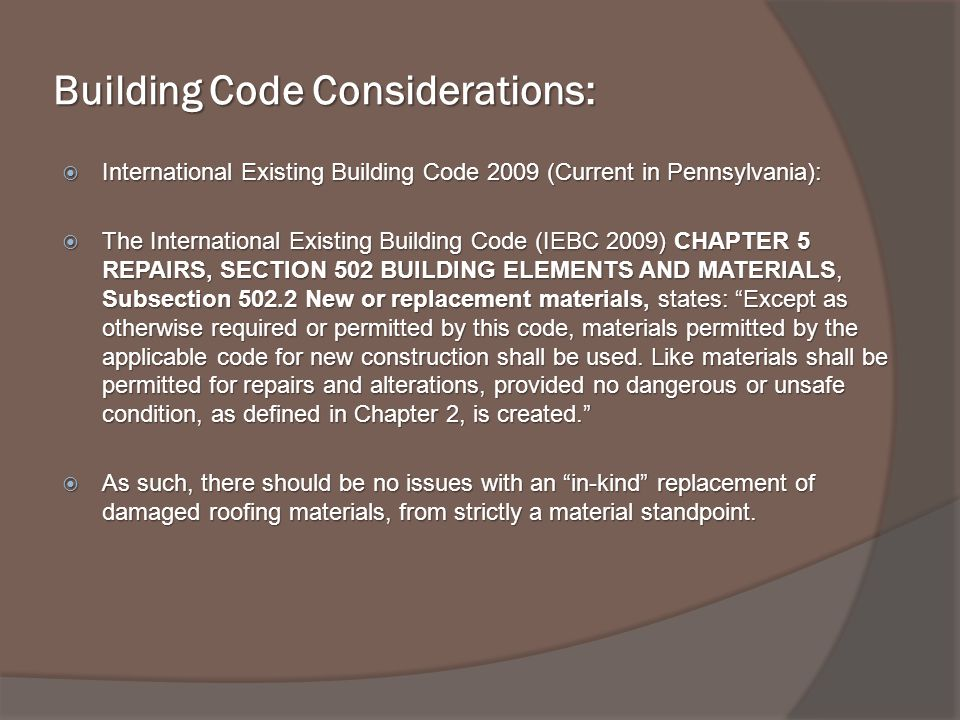 Building Code Considerations: