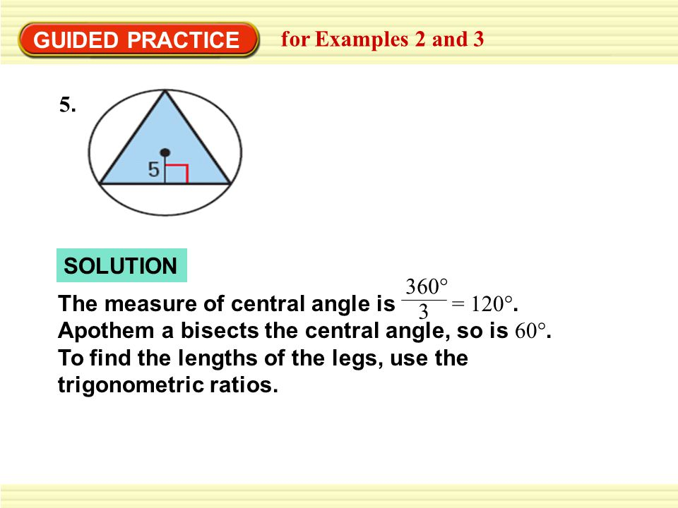 GUIDED PRACTICE for Examples 2 and 3. 5. SOLUTION.