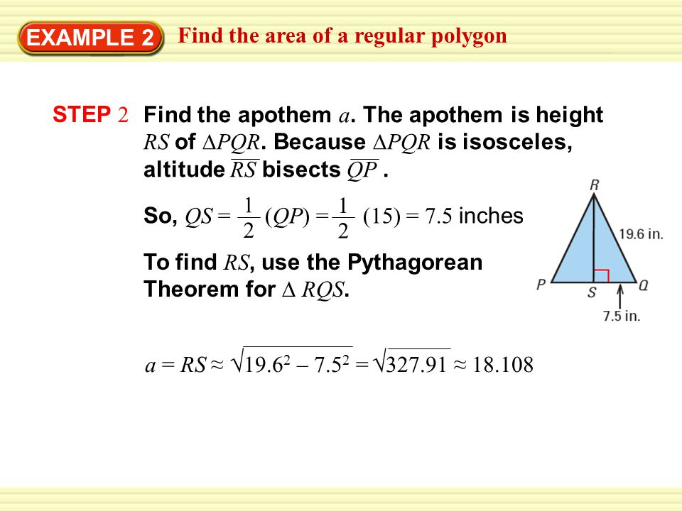 √ EXAMPLE 2 Find the area of a regular polygon STEP 2