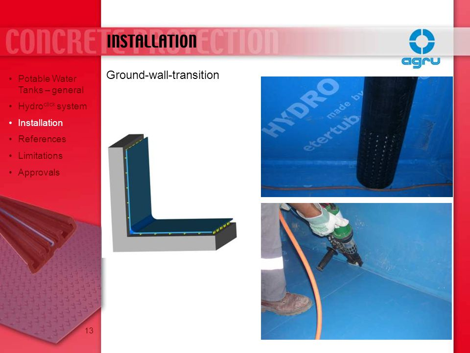 INSTALLATION Ground-wall-transition Potable Water Tanks – general