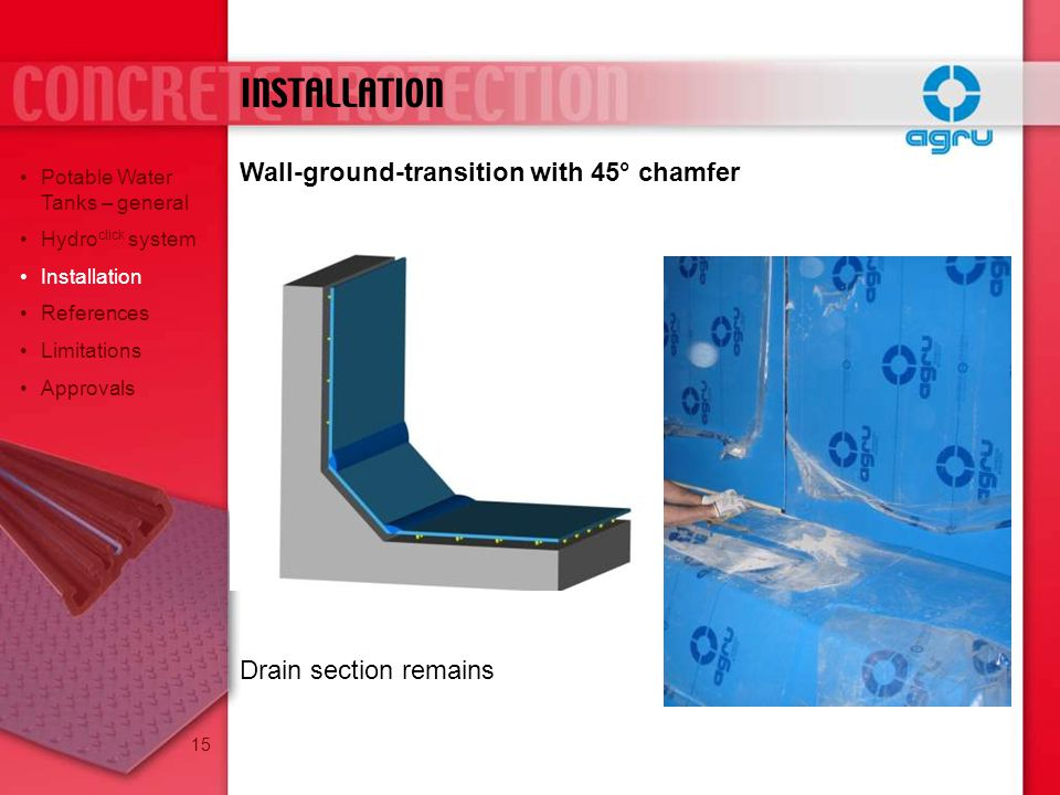 INSTALLATION Wall-ground-transition with 45° chamfer