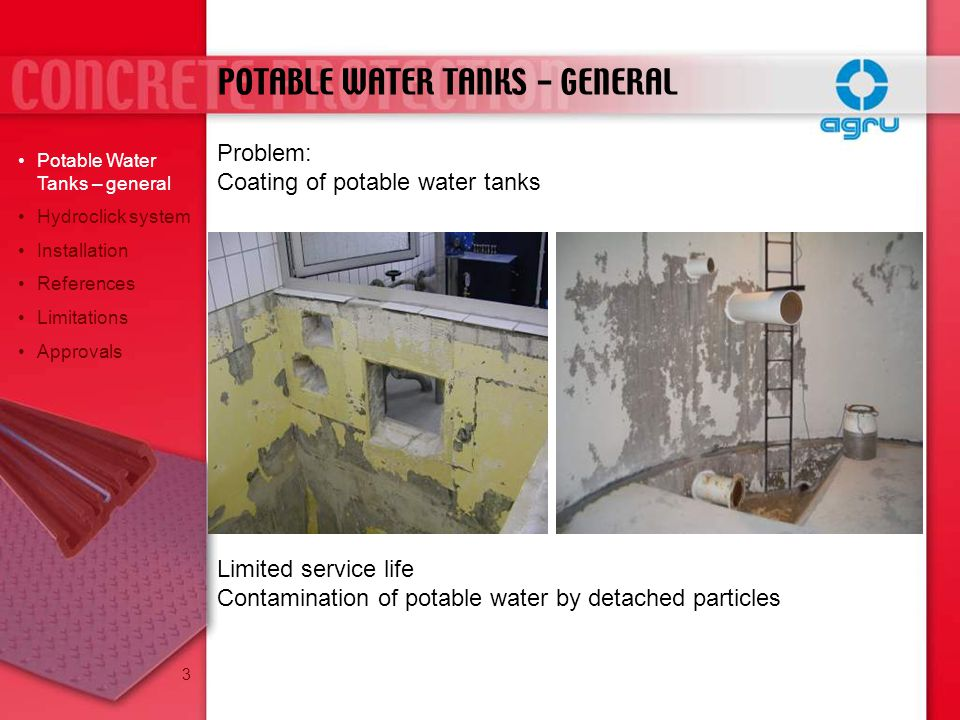 POTABLE WATER TANKS - GENERAL