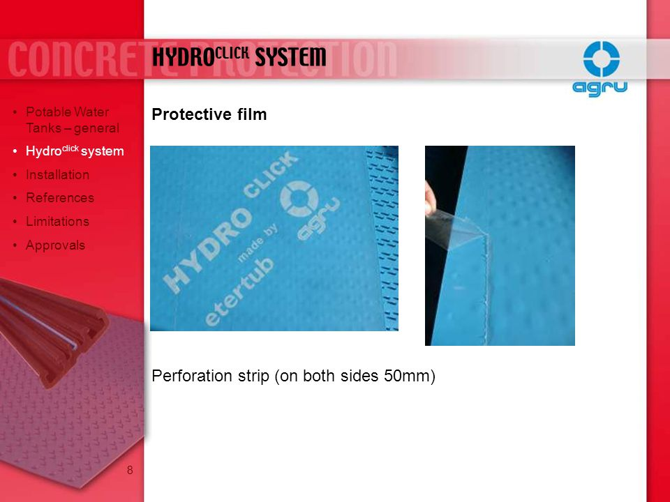 HYDROCLICK SYSTEM Protective film
