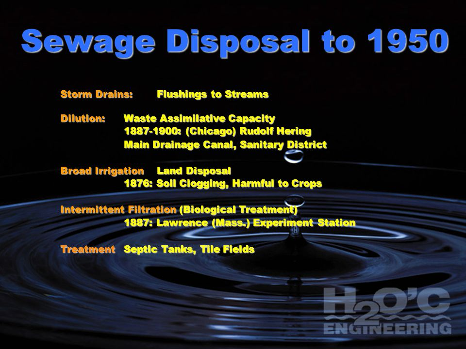 Sewage Disposal to 1950 Storm Drains: Flushings to Streams