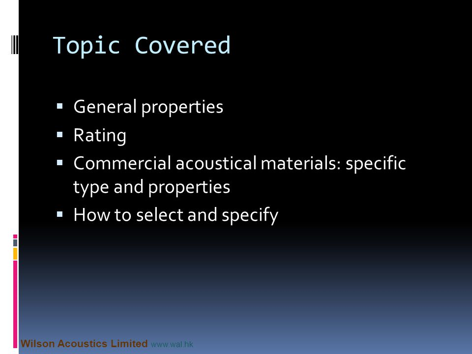 Topic Covered General properties Rating