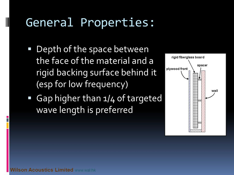 General Properties: Depth of the space between the face of the material and a rigid backing surface behind it (esp for low frequency)