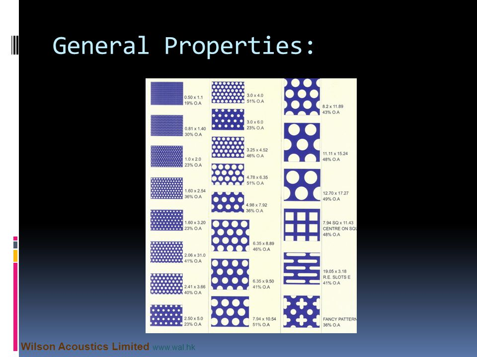 General Properties: Wilson Acoustics Limited www.wal.hk