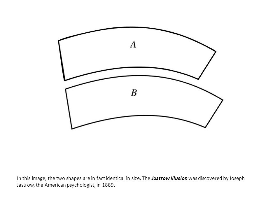 In this image, the two shapes are in fact identical in size