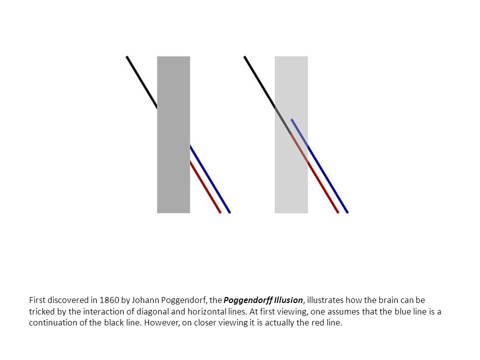 First discovered in 1860 by Johann Poggendorf, the Poggendorff Illusion, illustrates how the brain can be tricked by the interaction of diagonal and horizontal lines.