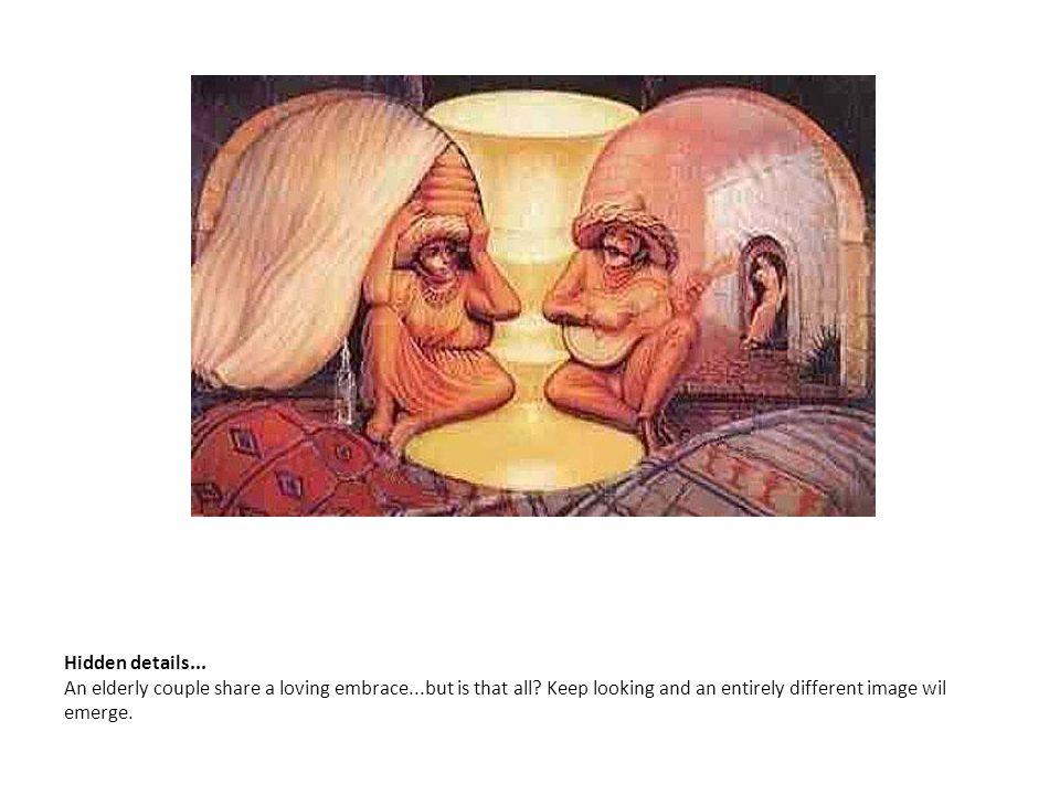 Hidden details. An elderly couple share a loving embrace