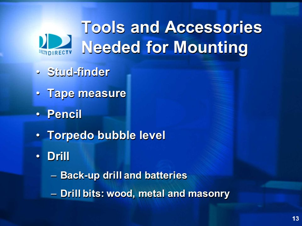 Tools and Accessories Needed for Mounting