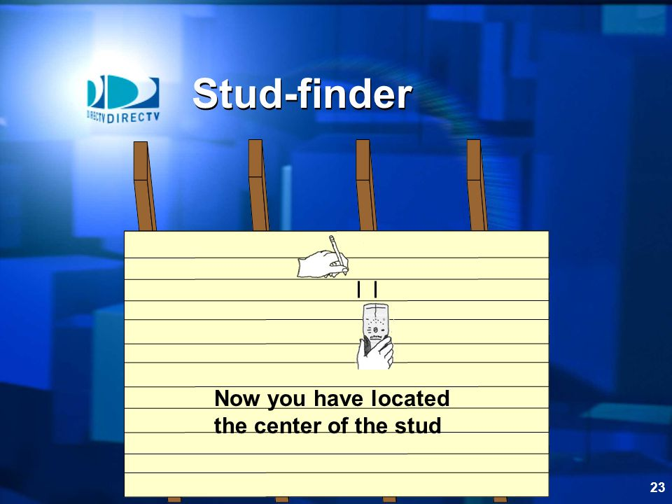Stud-finder Now you have located the center of the stud