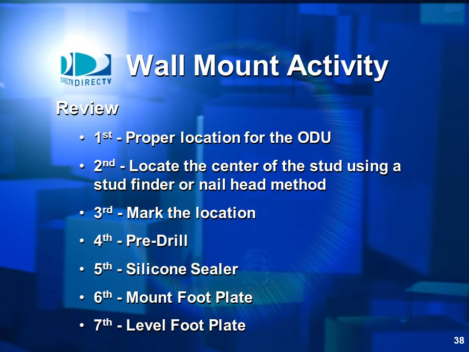 Wall Mount Activity Review 1st - Proper location for the ODU