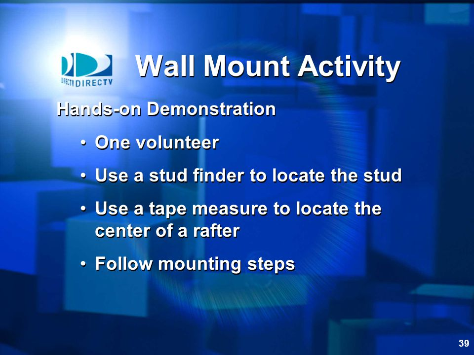 Wall Mount Activity Hands-on Demonstration One volunteer
