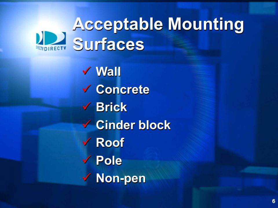 Acceptable Mounting Surfaces
