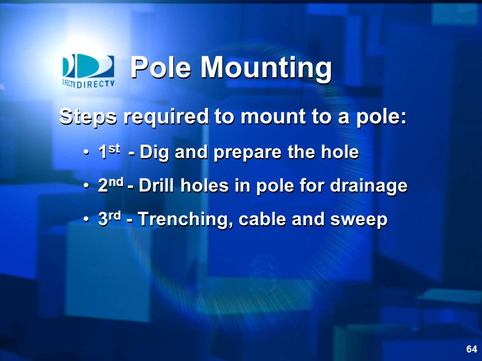 Pole Mounting Steps required to mount to a pole: