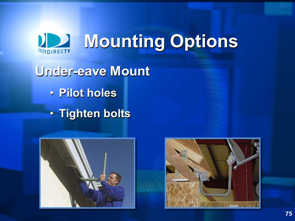 Mounting Options Under-eave Mount Pilot holes Tighten bolts