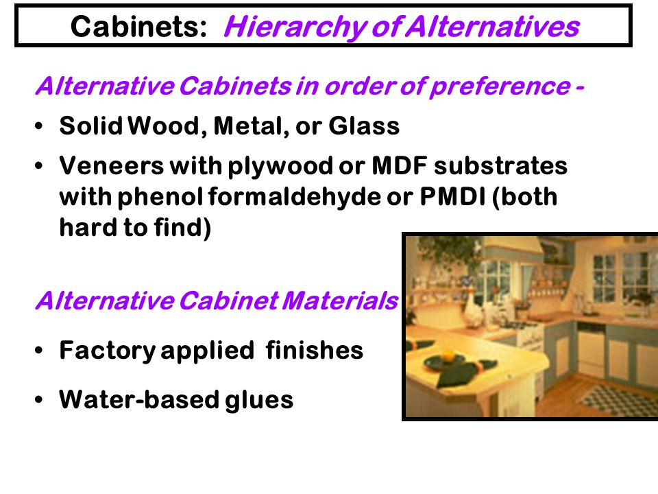 Cabinets: Hierarchy of Alternatives