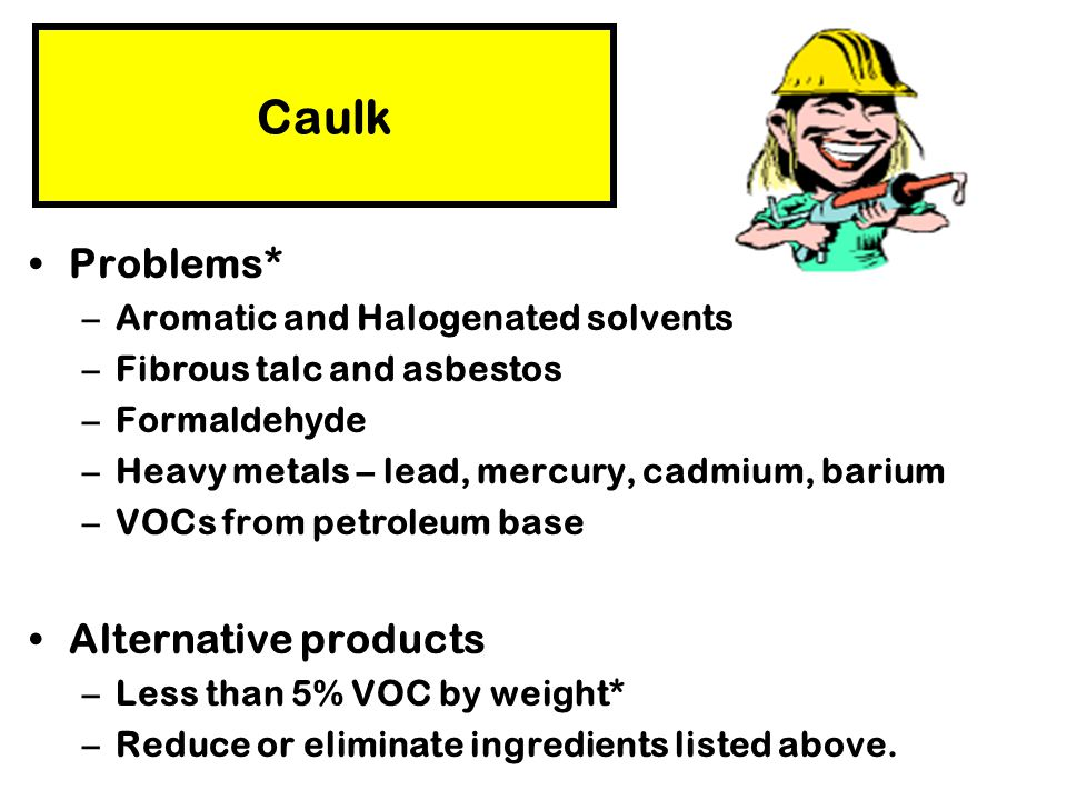 Caulk Problems* Alternative products Aromatic and Halogenated solvents