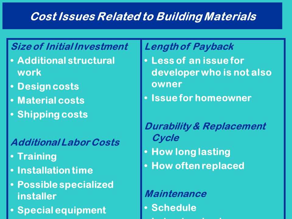 Cost Issues Related to Building Materials