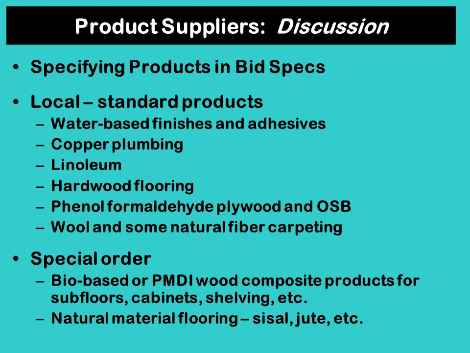 Product Suppliers: Discussion