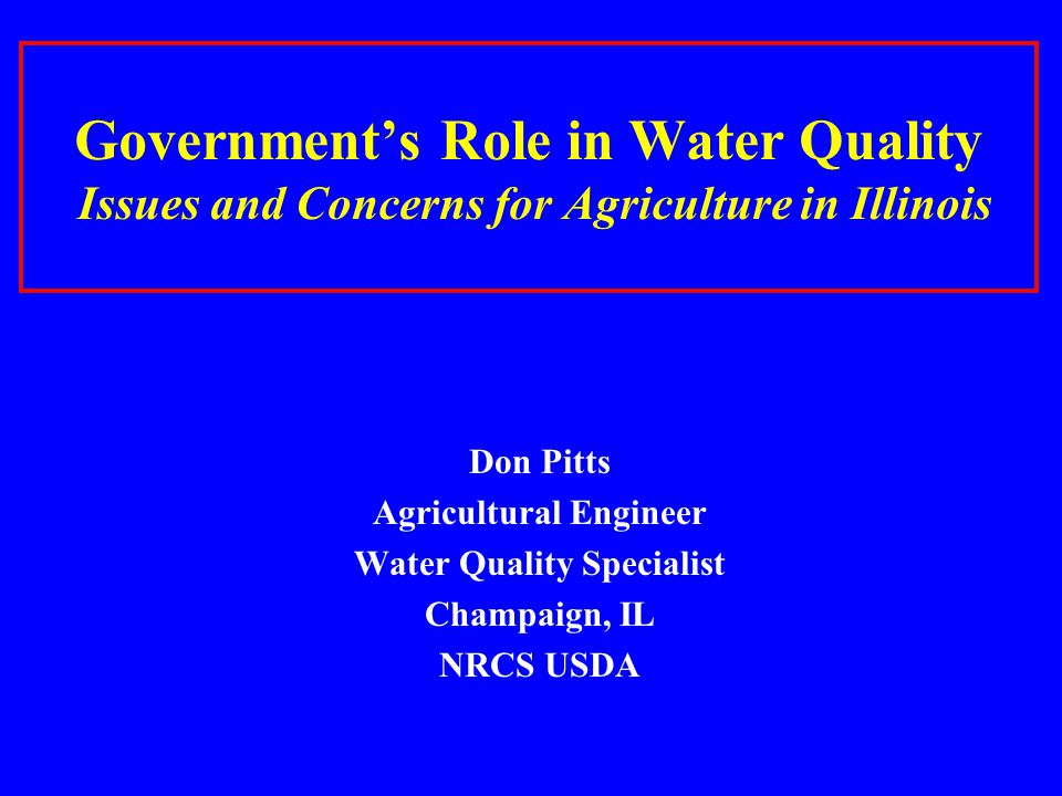 Agricultural Engineer Water Quality Specialist