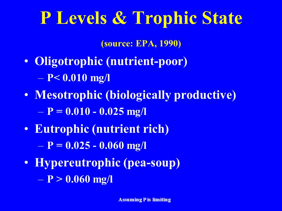 P Levels & Trophic State (source: EPA, 1990)