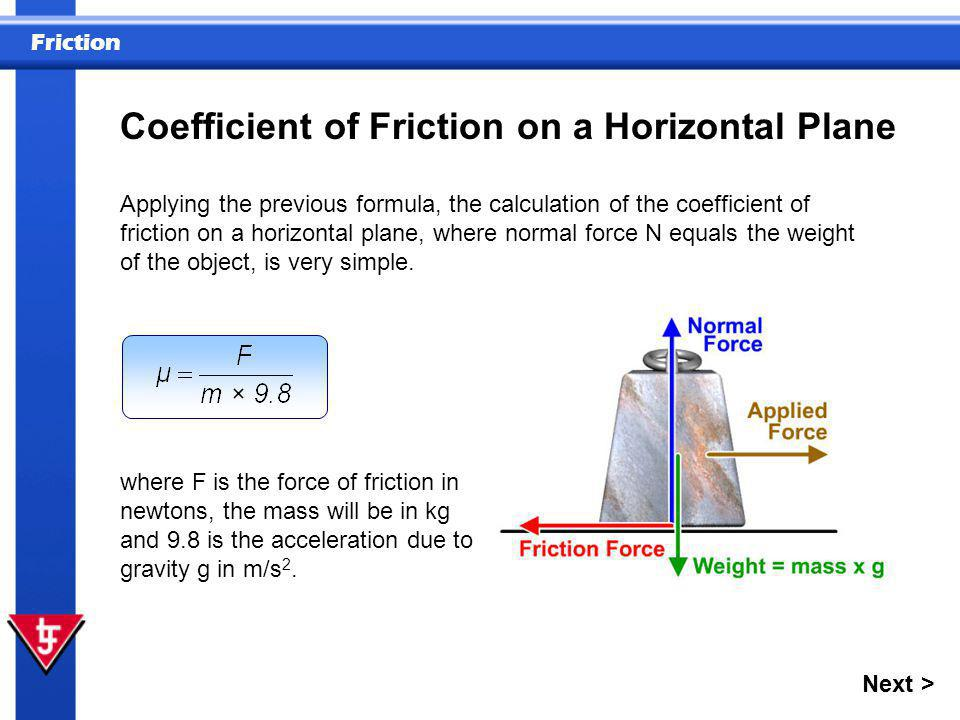 Coefficient of Friction on a Horizontal Plane