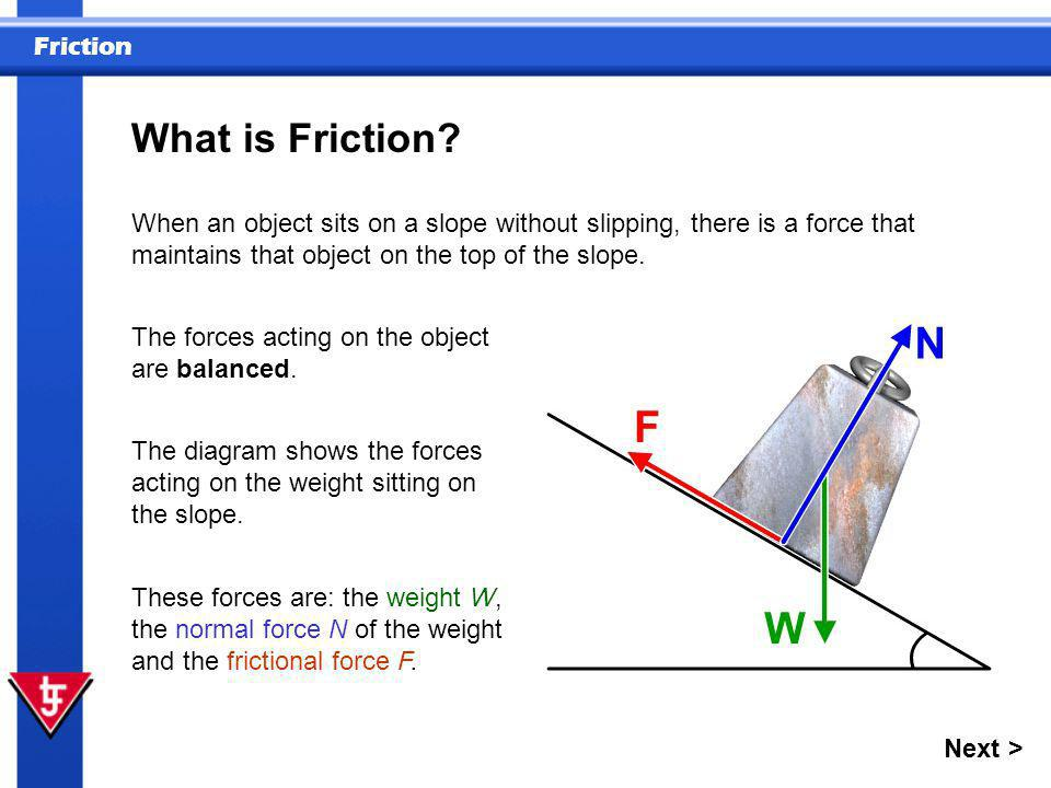 What is Friction When an object sits on a slope without slipping, there is a force that maintains that object on the top of the slope.