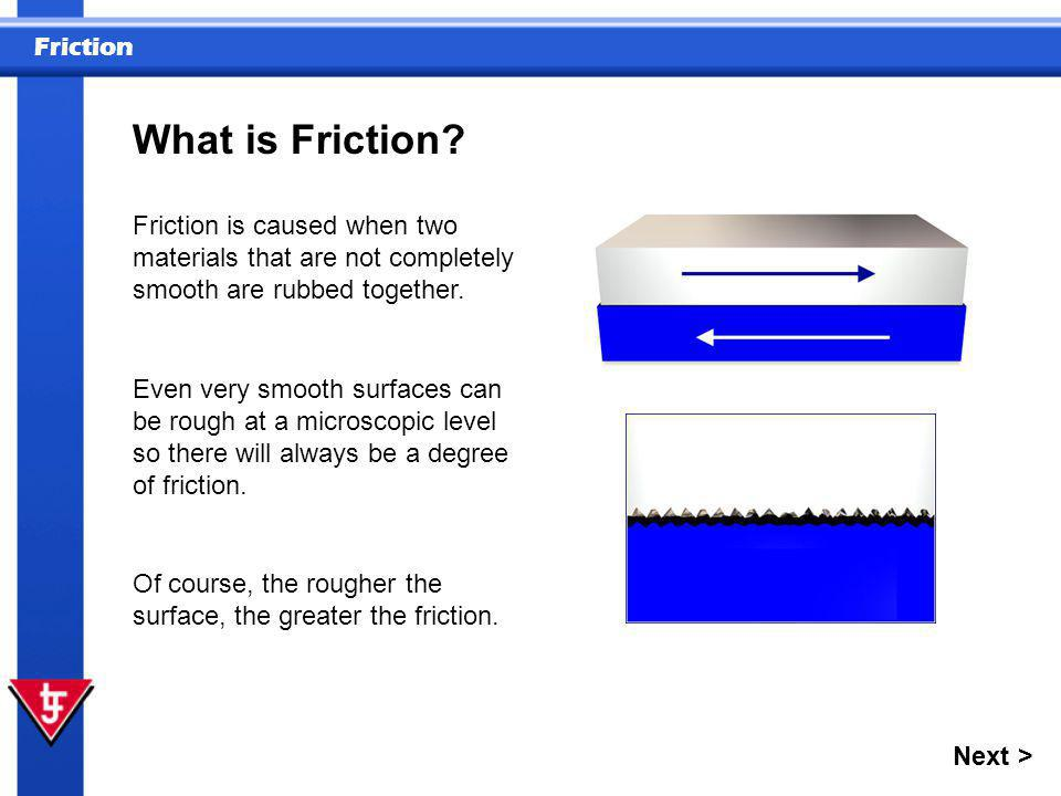 What is Friction Friction is caused when two materials that are not completely smooth are rubbed together.