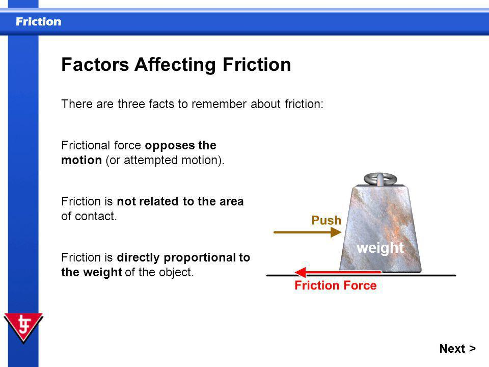 Factors Affecting Friction