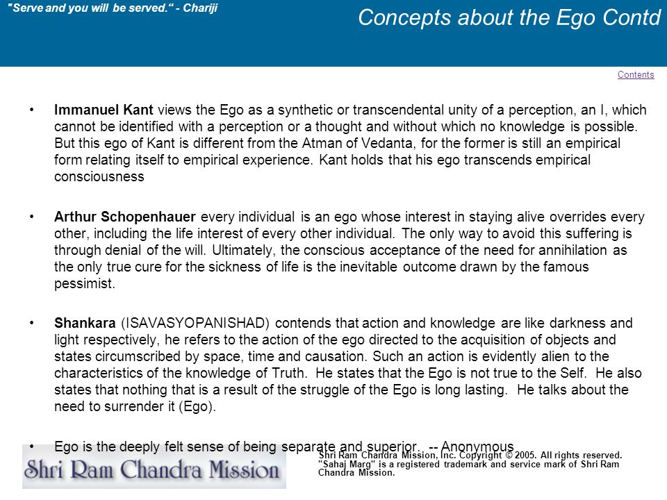 Concepts about the Ego Contd